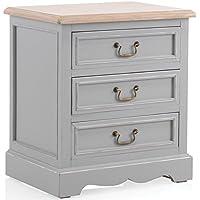 Destock Meubles Kleiner Tisch Paulownia grau 3Schubladen–ciarnente preisvergleich bei kinderzimmerdekopreise.eu