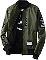 Bomber Jacket Fashion Men Jacket With Patches Both Side Wear Thin Bomber Jacket Flyer Overcoat Cloth Wind Brea