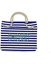 Chicago Souvenir - Blue And White Canvas Chicago Tourist Tote Bag Souvenir With Rope Handles By All Things Chicago