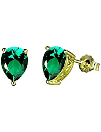 d94e89c78 Ornate Jewels 18K Gold Plated 925 Sterling Silver Created Emerald Stud  Earrings for Women OJE0023EM