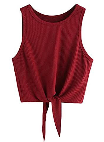 Kinikiss - Débardeur - Uni - Col Chemise Classique - Femme Medium - rouge - Large