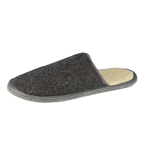 BTS warme Herren-Filzpantolette mit Innenfutter und Filzsohle, Farbe grau, Gr. 40-46 Grau