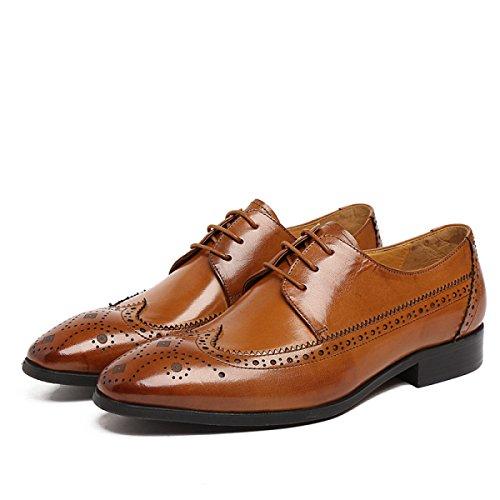 GRRONG Chaussures En Cuir Pour Homme Pointe Creuse Avec Un Banquet Respirant Un Port Confortable yellow