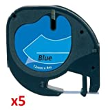 5 x Schriftband kompatibel für Dymo LetraTag 91205 / S0721650 (12mm x 4m) schwarz auf blau, Kunststoff