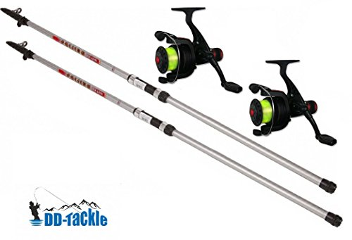 DD-Tackle Angelset Forellen & Allround Set 2 Ruten 3,00m 10-20g + 2 Heckbremsrollen Karpfen Angel