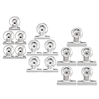 HERNGEE Magnetic Clips Refrigerator Magnets Whiteboard Wall Magnetic Memo Note Clips Metal Chip Clips 15pcs with Transparent Protective Pads for Scratch Safe