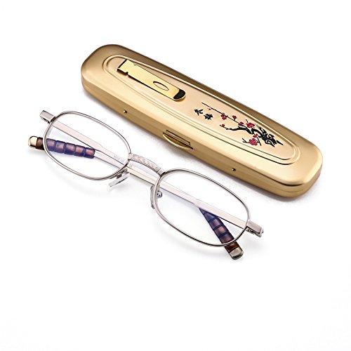 EgBert Handgeschnitzte Mini Tragbare Lesebrille Metall Vollformat Harz Presbyopie Brille 8806-1,5
