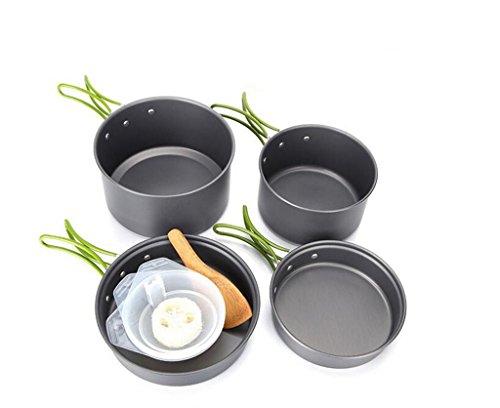 YHKQS-KQS Camping Outdoor Küche Supplies Kochgeschirr Set 2-3 Personen Sätze von Töpfen Aluminium Oxid Material Portable (mit Tasche)