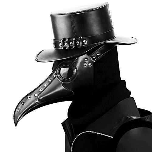 (Steampunk Pest Doktor Bird Maske Lange Nase Schnabel Cosplay Punk Halloween Kostüm Requisiten Phantom der Oper Vintage Black Mechanical Men Venezianische Maske)