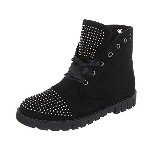 Chaussures femme Bottes et bottines Plat Bottines à lacet Ital-Design Noir