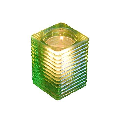 Tischlicht | Teelicht-Glas | Teelichhalter | Windlicht | Indoor & Outdoor-Tischleuchte in versch. Farben für Geburtstag, Kommunion, Taufe | perfekte Tisch-Deko, exklusiv by HANTERMANN (GRÜN)