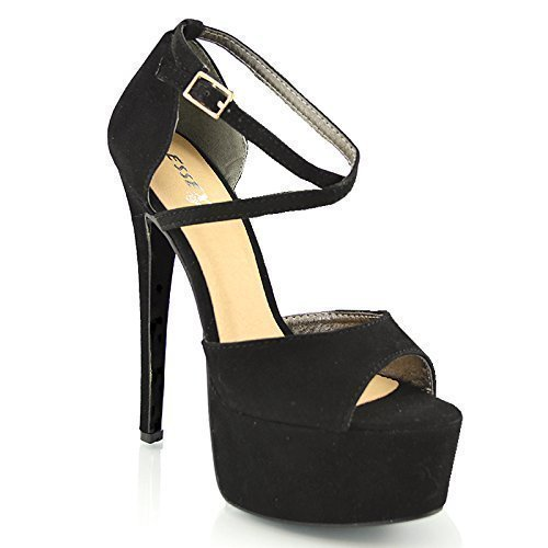 3d782ee55471 WOMENS PEEP TOE STRAPPY PLATFORM STILETTO LADIES HIGH HEEL SANDAL SHOES  SIZE 3 4 5 6 7 8 (UK 4   EU 37   US 6