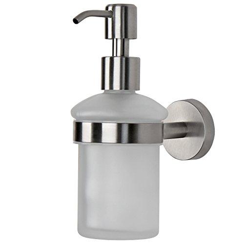 Aquamarin Seifenspender aus Edelstahl und Glas - Seifendosierer