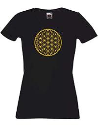 T-Shirt Damen schwarz mit Gold Audruck - Blume des Lebens - Ornament - S