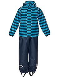 ELKA Combinaison de pluie pluie + pantalon de pluie veste pour les enfants, imperméable et coupe-vent, rayures ou einfärbig, plusieurs couleurs et dimensions 220g/Polyester