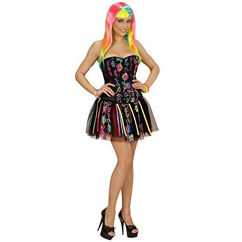 Kostüm Regenbogen Sexy Mädchen - Widmann 49027 - Erwachsenenkostüm Neon Rainbow Fantasy Girl, Korsett und Tütü