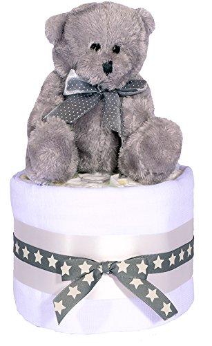 Orsetto Mini torta di pannolini, colore: argento, grigio e bianco Unisex bambino Bomboniera