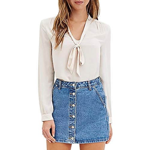 DOFENG Damen T Shirt Bluse Sweatshirt Damen Lange Ärmel Mode Locker Volltonfarbe Lässig Shirt Bogen V Hals Pullover Oberteil Tops (Weiß, XXXXX-Large) -