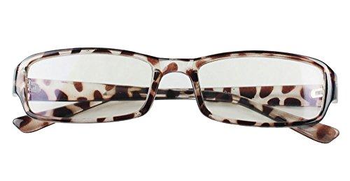 niceeshop(TM) Leopard Muster Schick Durchsichtig Kunststoff Formatfüllend Brille Rechteck Linse Plano Brille,UV-Schutz