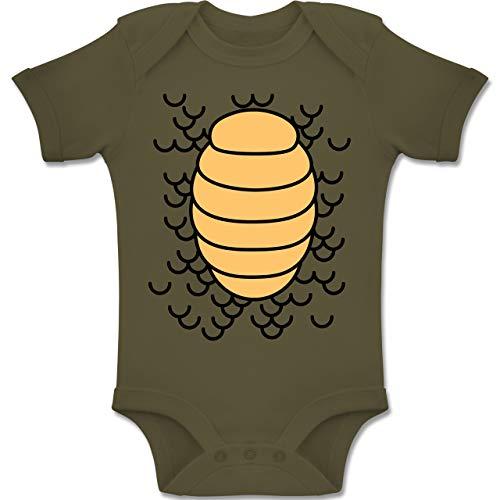 Shirtracer Karneval und Fasching Baby - Drachen Karneval Kostüm - 3-6 Monate - Olivgrün - BZ10 - Baby Body Kurzarm Jungen Mädchen (Baby Drache Kostüm 3 6 Monate)