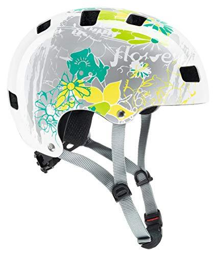 Uvex Kinder Kid 3 Fahrradhelm, Mehrfarbig (white flower), 55-58 cm
