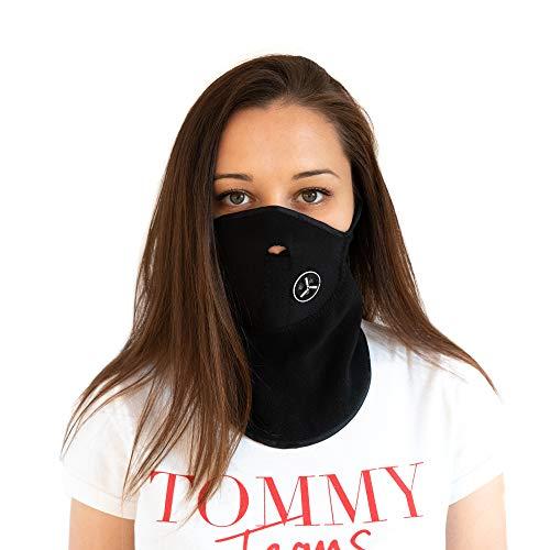 Austrian7 Halbmaske schwarz aus Thermo Fleece und Neopren mit Klettverschluss für Wind und Kälteschutz, einfach anzulegen für Ski, Mountain Bike, Motorrad, Paintball und Outdoor Aktivitäten -