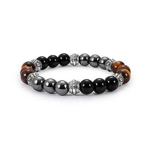 MHOOOA Magnet Armband Gesundheit Für Frauen 8 Mm Tigerauge & Hämatit & Schwarzer Obsidian Stein Armband Männer -