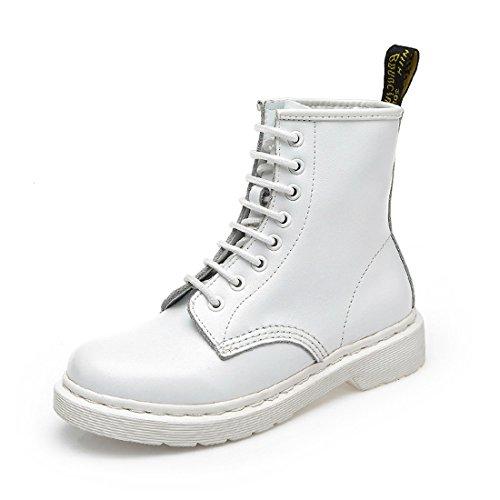 Honeystore Schnürstiefeletten Damenschuhe Biker Boots Blockabsatz Schnürsenkel Ital-Design Stiefeletten Weiß 37 EU