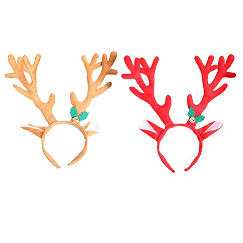YeahiBaby Kinder-Haarband mit Rentier-Geweih und Glocke, lustiges Party-Haarband, Weihnachts-Kostüm, Zubehör, 2 Stück (rot und braun)