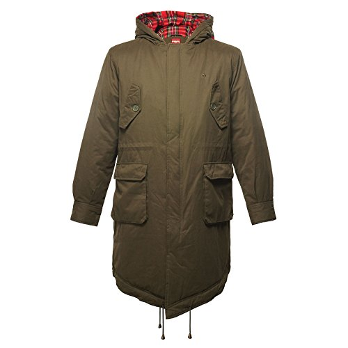 MERC LONDON QUEUE DE POISSON PARKA AVEC CAPOT TOBIAS - COMBAT VERT - XL