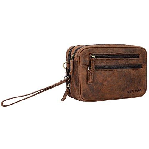 STILORD 'Nero' Handgelenktasche Herren Leder mit Doppelkammer Vintage Handtasche für 8,4 Zoll Tablets ideal für Reisen Festival Herrenhandtasche echtes Leder, Farbe:Sepia - braun