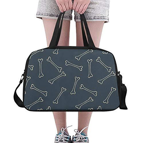 Yushg Hundeknochen Pfote Fußdruck benutzerdefinierte große Yoga Gym Totes Fitness Handtaschen Reise Seesäcke mit Schultergurt Schuhbeutel für Übung Sport Gepäck für Mädchen Mens Womens Outdoor (Halloween Behandeln Tasche Personalisierte)