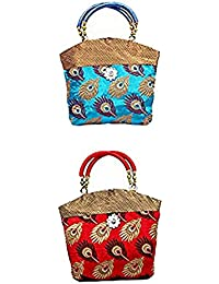 Women's Mini Brocade Peacock Theme Handbag 10*10 Inches- Pack Of 2 -Red & Sky Blue