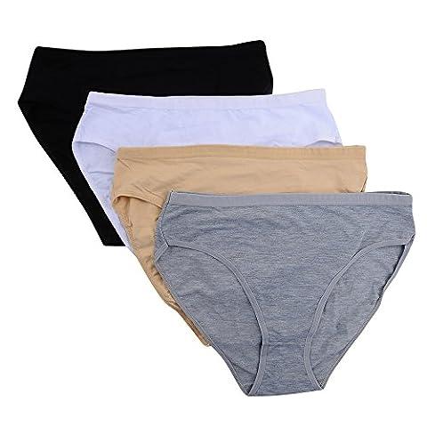 Closecret Women Comfort Cotton Stretch High Cut Briefs Panties(S(waist:26-27inch), 4 Colors)