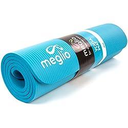 Meglio Esterilla de Yoga Antideslizante – En NBR de 10mm de Grosor. para Yoga, Fitness, Pilates, rutinas de Ejercicios Diferentes – Cinta para cargarla incluida