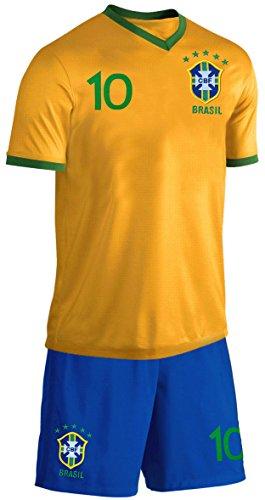 Brasilien Baby Trikot Set Fußball Fan Zweiteiler Gelb Blau Größe 74-80