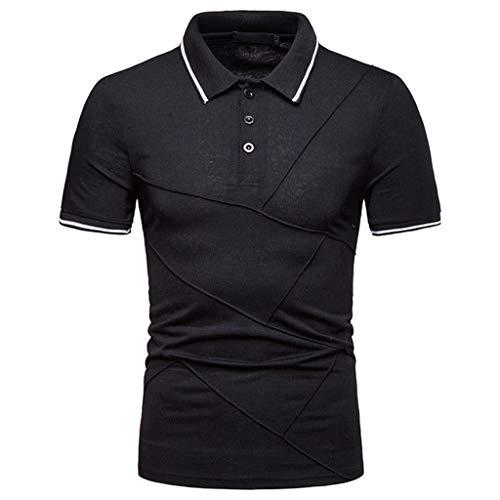 MNRIUOCII Poloshirt Herren Polohemd Kurzarm Streifen Sommer T-Shirt Men\'s Polo Shirt Freizeit Hemd Klassisches T-Shirt Sport Tops Button Down Tops Freizeithemd