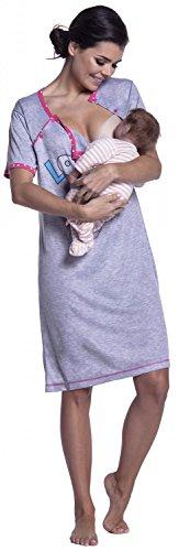 Zeta Ville Maternité Nuisette grossesse Chemise de nuit allaitement femme - 141c Fuchsia