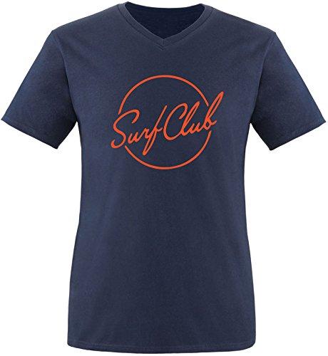 EZYshirt® Surfclub Herren V-Neck T-Shirt Navy/Orange