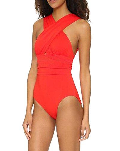Damen Bandeau Einteilige Badeanzug Mit X-Form Ausschnitt Bauchweg Monokini Pinup Strand Bikini Set Schwimmanzug Bademode Rot L
