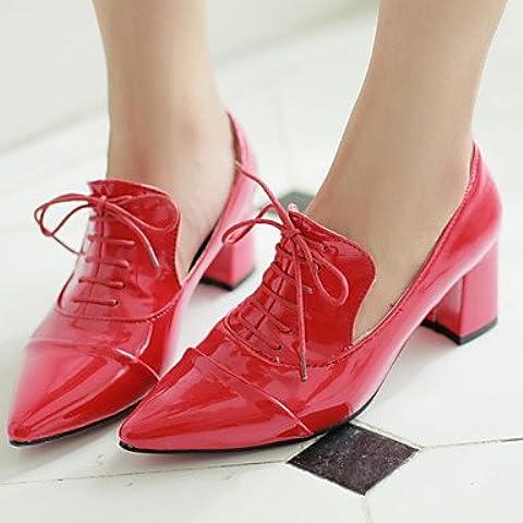 Zapatos de mujer Kitten Heel Toe señaló Oxfords & Carrera exterior/oficina/Casual negro/azul/rojo/blanco , Rojo US7.5 / UE38 / UK5.5 / CN38 , Rojo US7.5 / UE38 / UK5.5 / CN38
