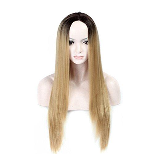 WEATLY Gerade Perücke 68cm Länge ist EIN hellbraunes Haar, Das benutzt Werden kann, um die quadratische Form der Frau zu ändern (Color : Gold)