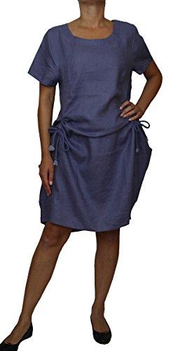 25062 PERANO Damen Leinen Sommerkleid Freizeitkleid Jeans Blau
