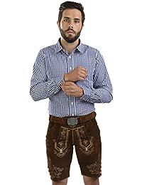 Herren Lederhose Wiesnjäger mit Trachtengürtel - Herren Trachtenlederhose Oktoberfest mit Gürtel - Trachtenhose kurz
