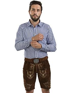 Herren Lederhose Wiesnjäger mit Trachtengürtel - Herren Trachtenlederhose Oktoberfest mit Gürtel - Trachtenhose...