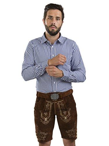 Herren Lederhose Wiesnjäger mit Trachtengürtel - Herren Trachtenlederhose Oktoberfest mit Gürtel - Trachtenhose kurz Gürtel (60, Nussbraun)