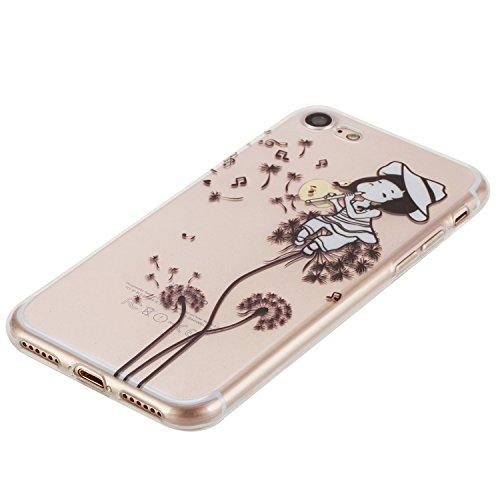 Per iPhone 7 4.7 Custodia morbido,Herzzer Mode Crystal Creativo Elegante Fenicottero Quadro Dipinto Design trasparente case cover,Protettivo Skin in Liscio Smooth Toccare Unico Molto sottile Modeling Dandelion ragazza
