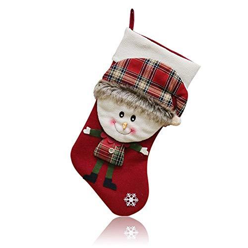 Aolvo calza di natale grandi calze di natale sacchetto regalo, classiche calze di natale con babbo natale pupazzo di neve elk deer present sack craft carino giocattoli per albero di natale a forma di festa di natale deco 1 pc snowman sock