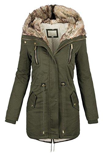 Warme invernale da donna colletto giacca Parka lungo cappotto giacca invernale pelliccia S-XL B420 verde XL