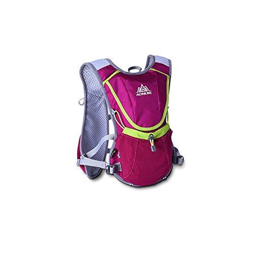 KEBY Outdoor Hydratation Fahrradweste Camping Laufrucksack Wandern Daypack mit Wasserblasentasche, rosarot